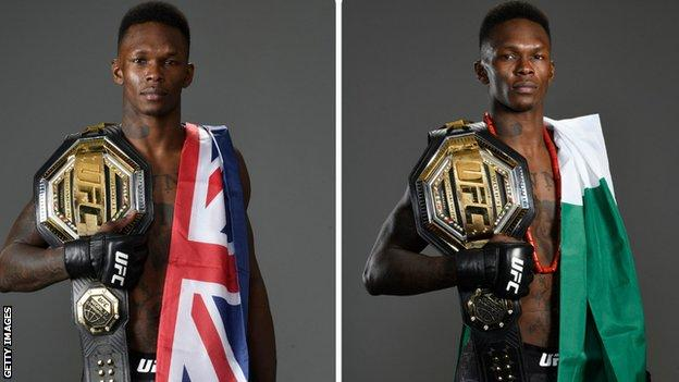 MMA fighter Israel Adesanya poses with a New Zealand flag (left) and with a Nigeria one