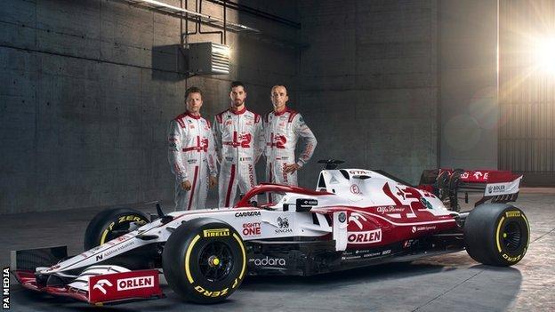 Alfa Romeo drivers Kimi Raikkonen, Antonio Giovinazzi and Robert Kubica next to the ORLEN C41