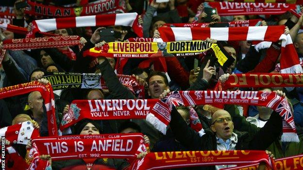 Liverpool and Dortmund fans