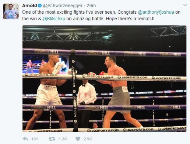 Arnold Schwarzenegger tweet