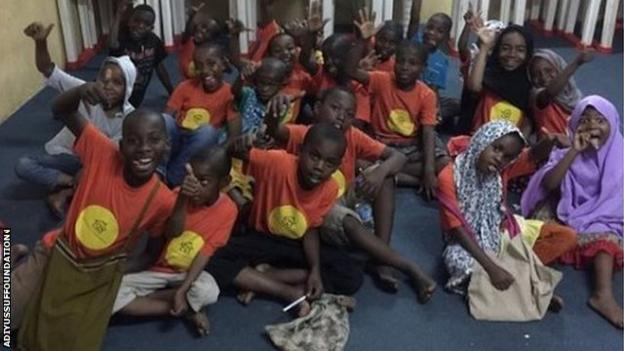 Some of the orphans from Zanzibar Solihull Moors striker Adi Yussuf has helped with his foundation