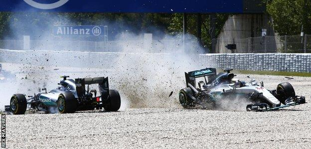 Lewis Hamilton and Nico Rosberg collide at the Spanish Grand Prix