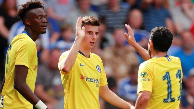 Mason Mount celebrates scoring for Chelsea