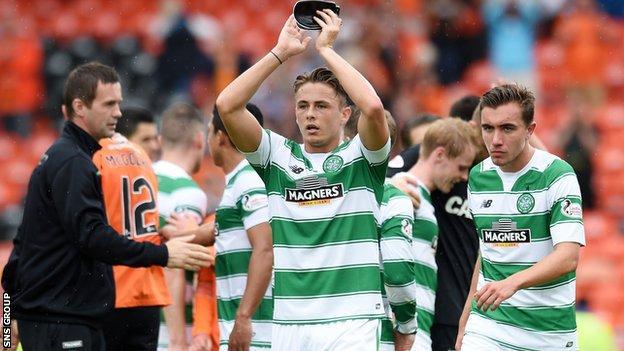 Scott Allan made his Celtic debut at Tannadice