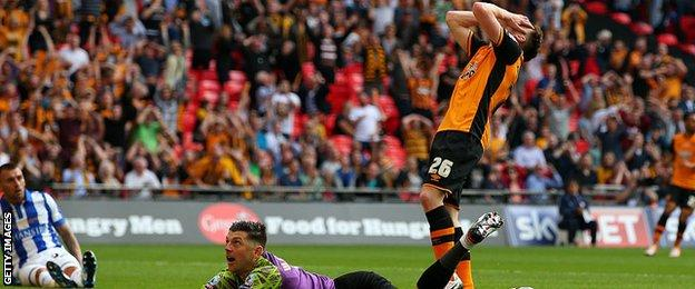Andrew Robertson after missing a glorious chance to give Hull City the lead against Sheffield Wednesday
