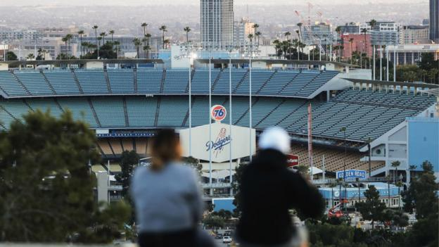 An empty Dodger Stadium
