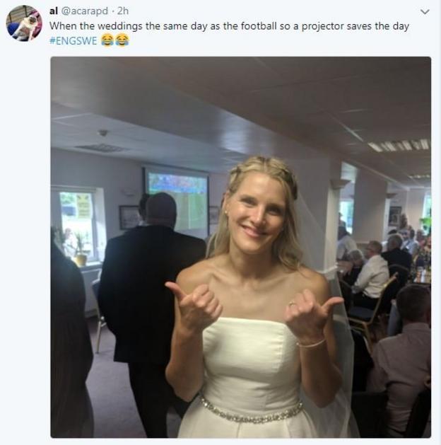 Bride watches England match