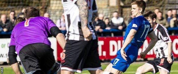 Jamie Redman scores for Montrose against Elgin City