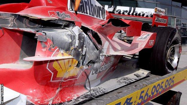 Michael Schumacher's Ferrari at the 2005 Chinese GP