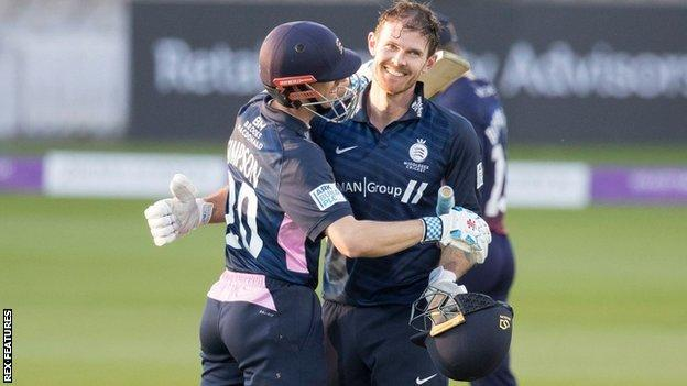 Centurion James Harris and John Simpson posted a new Middlesex sixth-wicket List A stand of 197