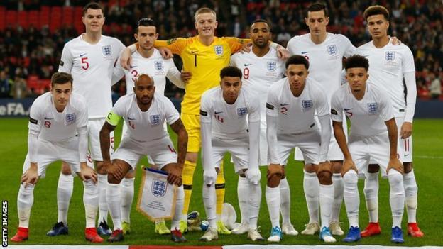 England squad against USA