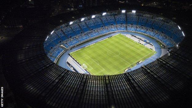 Stadio San Paolo lit up