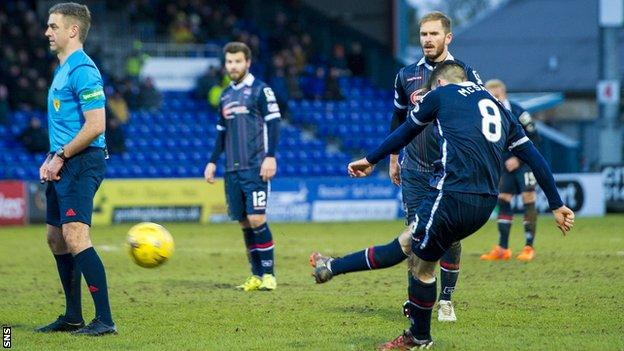 Ian McShane scores a free-kick for Ross County against Hamilton Academical