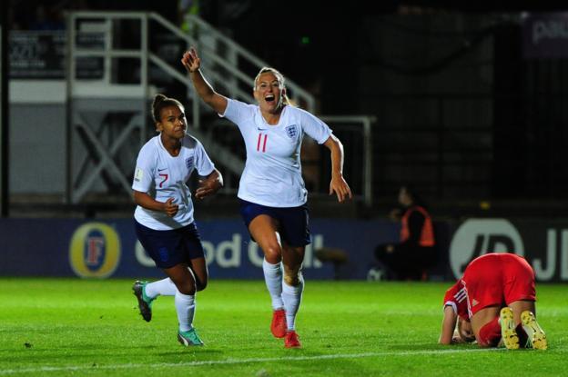 Toni Duggan celebrates scoring for England women against Wales