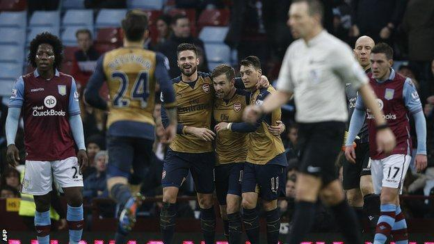 Arsenal players celebrate Aaron Ramsey's goal