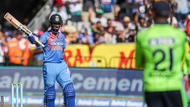 India opener KL Rahul celebrates bringing up his half-century against Ireland in the second T20