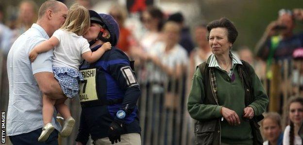 Zara Tindall kisses husband Mike and daughter Mia after riding High Kingdom, watched by her mother the Princess Royal