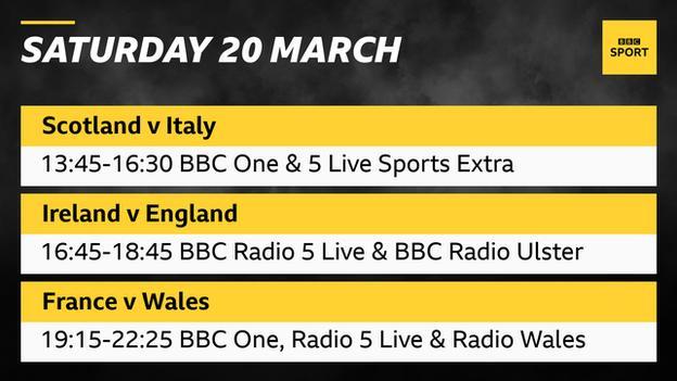 Graphic reading: Saturday, March 20th.  Scotland - Italy 13: 45-16: 30 BBC One & 5 Live Sports Extra.  Ireland - England 16: 45-18: 45 BBC Radio 5 Live & BBC Radio Ulster.  France - Wales 19: 15-22: 25 BBC One, Radio 5 Live & Radio Wales