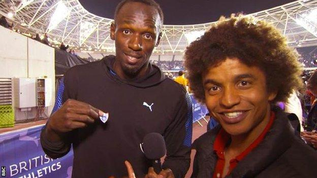 Usain Bolt and Blue Peter presenter Radzi Chinyanganya