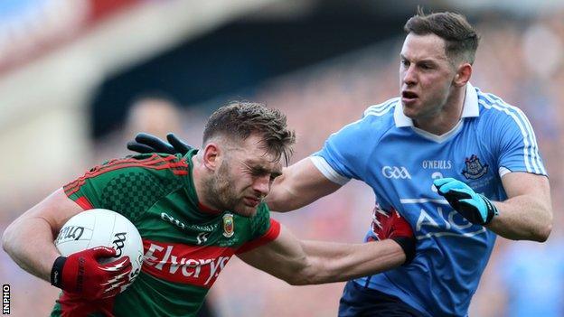 Mayo's Aidan O'Shea battles with Dublin's Philly McMahon at Croke Park