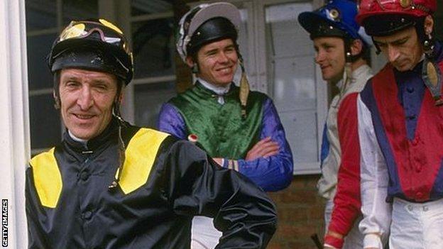 Jockey Joe Mercer (left) with weighing room colleagues