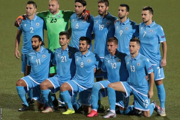 San Marino national team line up for a game against Liechtenstein in September 2020