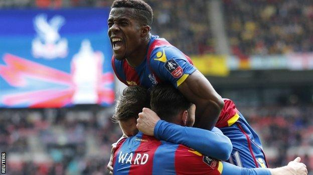 Wilfried Zaha celebrates Connor Wickham's goal for Palace in their FA Cup semi-final win over Watford