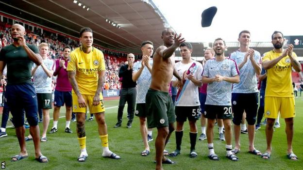 Fernandinho, who captained Manchester City at Southampton, threw his flip-flops into the crowd at the end of the game