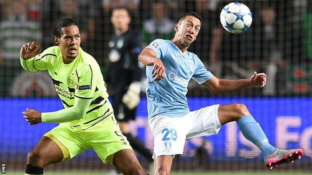 Virgil van Dijk playing for Celtic against Malmo