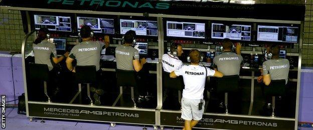 The Mercedes' pit wall dictates the strategy for the race for both drivers