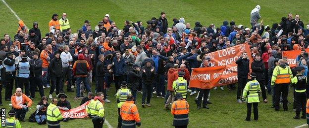 Blackpool pitch invasion