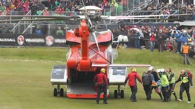 A spectator was airlifted to hospital after a serious crash at last year's North West 200