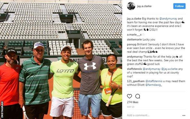 Jay Clarke Instagram post with Andy Murray