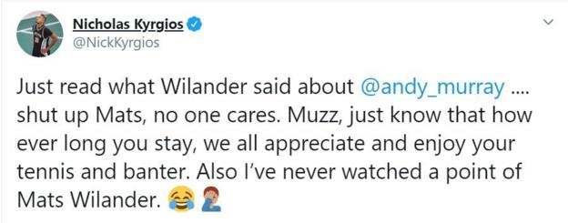 Nick Kyrgios criticised Mats Wilander in a Twitter post