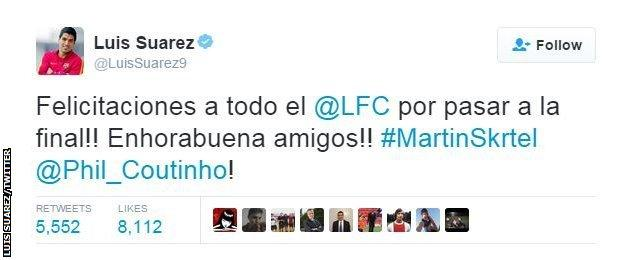 Luis Suarez on Twitter