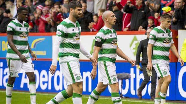 Celtic players looking dejected