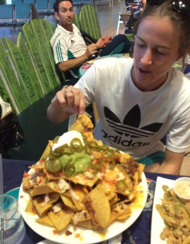 Lydia Greenway is confronted by a huge plate of nachos