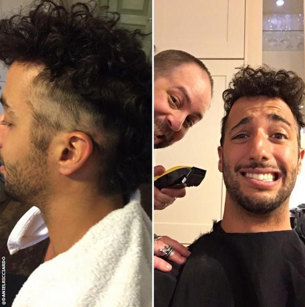 Daniel Ricciardo getting a hair cut
