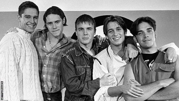 Take That performing at a concert in 1993
