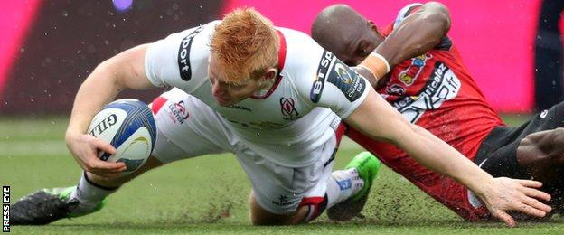 Rory Scholes scored Ulster's first try in the remarkable victory away to Oyonnax