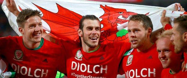 Wayne Hennessey, Gareth Bale, Chris Gunter, Jonathan Williams and Aaron Ramsey