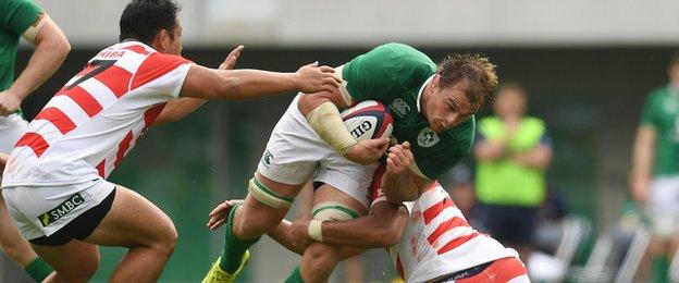 Rhys Ruddock in action for Ireland against Japan