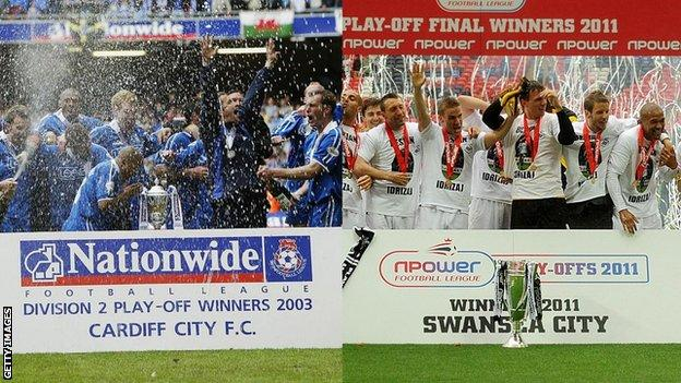 Cardiff won their Second Division play-off final in 2003 (left), while Swansea triumphed in the 2011 Championship play-off final (right)