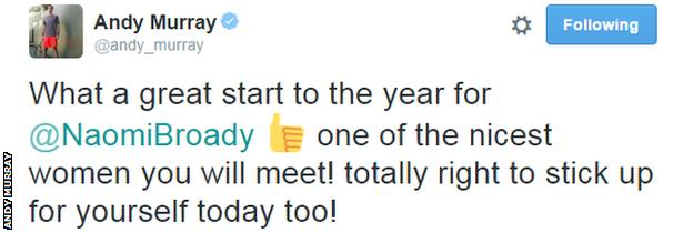 Andy Murray tweet about Naomi Broady
