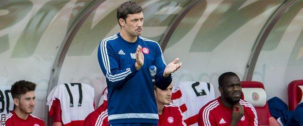 Hamilton Academical boss Martin Canning in the dugout