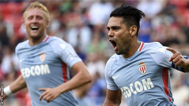Radamel Falcao scored a hat-trick for Monaco against Dijon