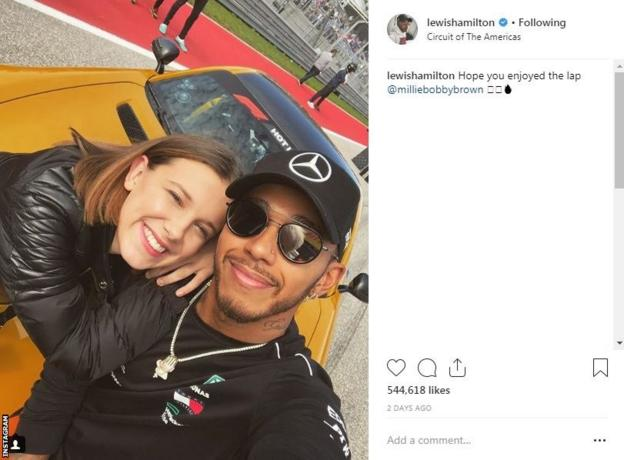 Lewis Hamilton Instagram post showing a photo of him with Millie Bobby Brown