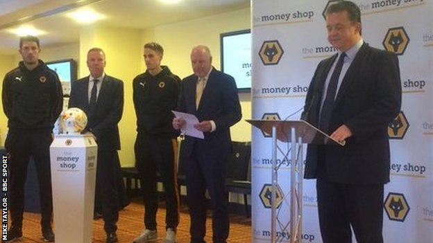 Wolves chief executive Jez Moxey was speaking at Wednesday's press launch for the club's new sponsors for the next three years, accompanied by (from left) skipper Danny Batth, head coach Kenny Jackett and Money Shop chairman Michael Edwards