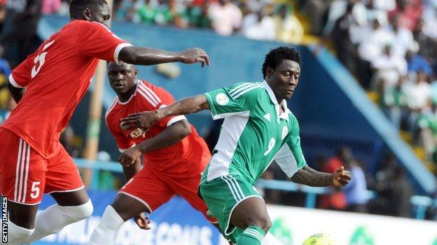 Obafemi Martins (R) playing for Nigeria in a World Cup qualifier against Kenya in March 2013