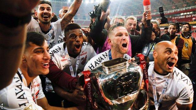 Atletico Paranaense celebrate